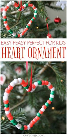 Cute heart shaped easy Christmas ornaments for kids to make, perfect for improving fine motor skills. This is a great activity for preschool or older kids! Christmas Presents For Kids, Christmas Crafts For Kids To Make, Preschool Christmas, Homemade Christmas Gifts, Christmas Activities, Xmas Gifts, Holiday Crafts, Easy Christmas Ornaments, Simple Christmas
