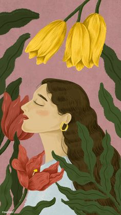Beautiful woman surrounded by nature illustration Art And Illustration, Illustrations Posters, Watercolor Illustration, Bd Art, Mode Poster, Posca Art, Applis Photo, Aesthetic Art, Korean Aesthetic