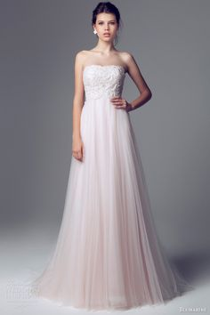 blumarine 2014 bridal strapless pink wedding dress