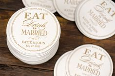 Wedding Letterpress Coasters - Eat Drink and Be Married - Custom Favor Save the Date Decoration Bar Accessory Invitation by ruffhouseart on Etsy https://www.etsy.com/listing/175183654/wedding-letterpress-coasters-eat-drink