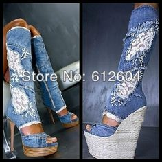 ABSOLUTLY BEAUTIFUL...2013 fashion women jeans lace patchwork knee boots fashion cut-outs sandals boots hollow out high heels summer pumps $118.55 - 123.50