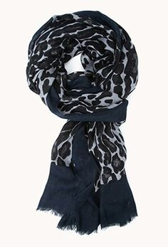 Blue Black White Cheetah scarf