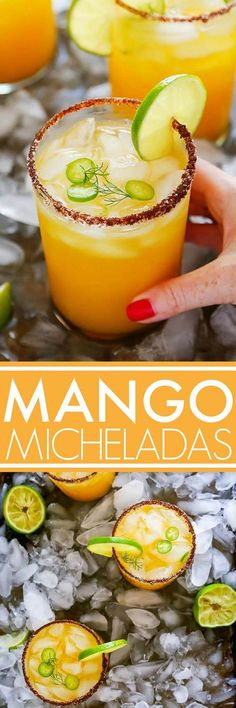Mango Michelada is a Mexican beer cocktail that's sweet & spicy and perfect for summer sipping! Made with mango juice, lager, lime and a chili-salt rim. Mexican Beer, Mexican Drinks, Mexican Food Recipes, Party Drinks, Fun Drinks, Beverages, Smothie, Summer Cocktails, Cocktail