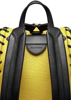 Acne Studios Rope jungle yellow is a small leather backpack with large whipstitch details perfect for daily use. Black Handbags, Leather Handbags, Leather Bags, My Bags, Purses And Bags, Backpack Bags, Small Backpack, Duffle Bags, Messenger Bags