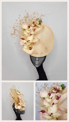 Aurore - Almond/nude sinamay disc with silk orchids trimmed feather spray and sinamay twist. Millinery Hats, Fascinator Hats, Fascinators, Headpieces, Lilac Fascinator, Fancy Hats, Cool Hats, Silk Orchids, Cocktail Hat