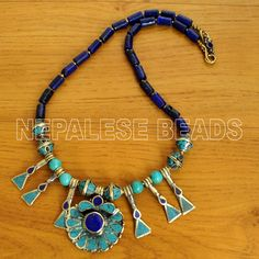 """N513 Nepalese Artisan Design Turquoise Lapis Brass Necklace 20"""" from Nepal…"""