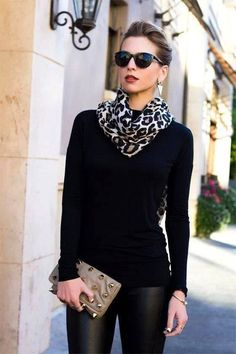All black with fashionable accessories. Extra points for leopard scarf.