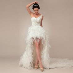Elegant Sleeveless with Natural waist wedding dress, I love this dress would be cuter without the sleeve and the feathers haha but it reminds me of a old time saloon dress, which is perfect for our country wedding