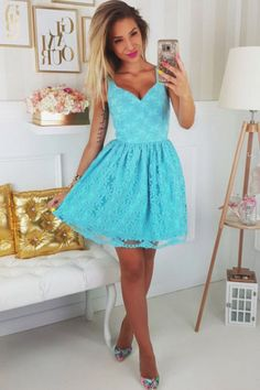 Blue V-neck Appliques Tulle A-line Homecoming Dress,Homecoming Dress,Short Prom Dress