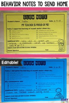 Behavior Notes to Send Home - Editable! Improve parent communication about their kids behavior. Keep documentation of students good and bad behaviors with these printable glow grow notes! These work great in PBIS classrooms. They help to improve classroom 3rd Grade Classroom, Future Classroom, Classroom Ideas, Classroom Rules, Middle School Classroom, Communication Avec Les Parents, Parent Teacher Communication, Parent Teacher Conferences, Classroom Behavior Management
