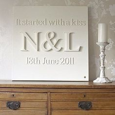 Wooden letters glued to canvas and then painted.