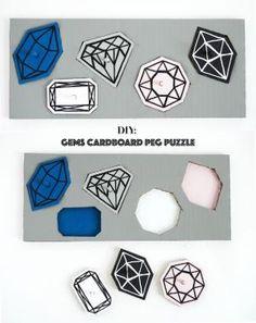 make a gem cardboard peg puzzle...how to...