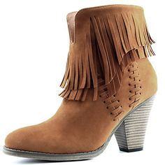 Women's DailyShoes Western Cowboy Double Fringe High Top Ankle High Heel Boot, 10 ** You can find out more details at the link of the image.