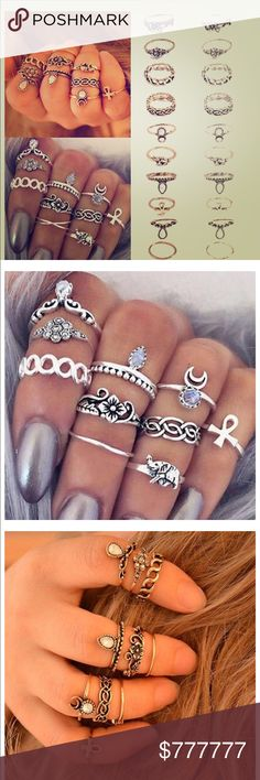 10 midi ring set in vintage rough boho silver 10 rings in this set! Imagine all the styles you can come up with having so many matching rings. Vintage silver, roughed up antiqued look.  All rings are non- adjustable. All of the rings in this set can be worn as midi rings (above the knuckle- as shown in cover photo). Arrives in gift box, ships same or next business day using priority mail. Offers Welcome Jessie's Accessories Jewelry Rings