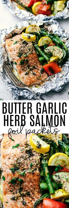 Garlic Herb Salmon Foil Packets Butter Garlic Herb Salmon Foil Packets are made with tender and flaky salmon with fresh summer veggies. They cook to perfection with the best garlic herb compound and will become a family favorite! Baked Salmon Recipes, Fish Recipes, Seafood Recipes, Best Salmon Recipe, Fresh Salmon Recipes, Drumstick Recipes, Soup Recipes, Foil Packet Dinners, Foil Pack Meals