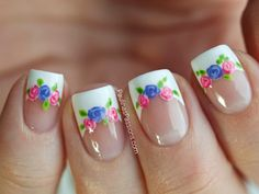 Nailpolis Museum of Nail Art | Chevron French Manicure with Romantic Roses by Paulina's Passions