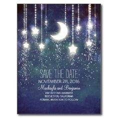 string lights moon stars romantic save the date post card
