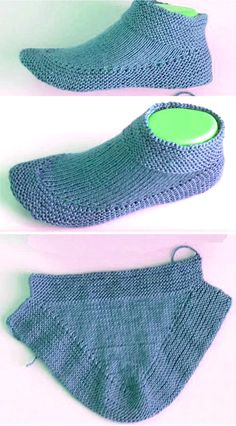 Knit Booties in 15 minutes - Tutorial - tricot - Knitting Ideas Easy Knitting, Knitting Socks, Knitting Patterns Free, Knit Patterns, Knitting Tutorials, Knitted Booties, Knitted Slippers, Knit Slippers Free Pattern, Knitting Accessories