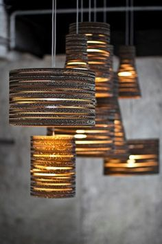 DIY Kits & Resources to Make Custom Light Fixtures and Lampshades Beautiful Drum Shade & Cylinder Pendant Lamps Created out of Cardboard created by Tabitha Bargh Custom Lighting, Home Lighting, Outdoor Lighting, Lighting Design, Pendant Lighting, Pendant Lamps, Luxury Lighting, Lighting Ideas, Tons Clairs