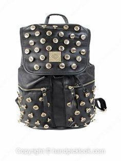 Black Eye Button Embellished PU Backpack -$46.09