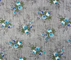 1950s Vintage Floral Cotton Fabric  Teal Blue by BlueZinniaVintage, £14.00