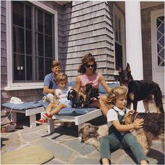 Photograph of Kennedy Family with Dogs During a Weekend at Hyannisport, 08/14/1963