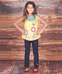 Love this Yellow Flower Tank & Skinny Jeans - Infant, Toddler & Girls on #zulily! #zulilyfinds