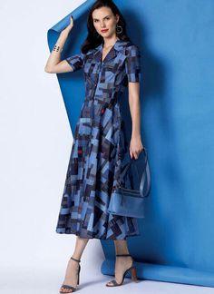 V9345 V Dress, Miss Dress, Wrap Dress, Midi Dresses, Flare Skirt, Flare Dress, Vogue Sewing Patterns, Straight Skirt, Dress Patterns