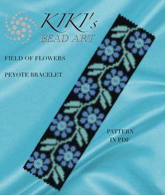 Pattern, peyote bracelet - Field of flowers peyote bracelet cuff pattern in PDF instant download