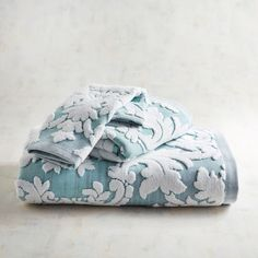 Damask Jacquard Blue Towel Collection