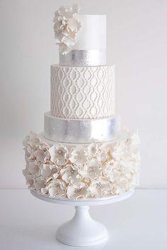 Simple, Elegant, Chic Wedding Cakes ❤ See more: http://www.weddingforward.com/simple-elegant-chic-wedding-cakes/ #weddings