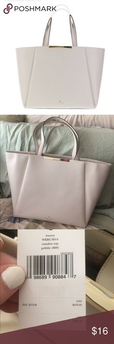 NWT KATE SPADE LENORA CAMDEN TOTE  BEAUTIFUL NEUTRAL LEATHER BAG BIG ENOUGH FOR LAPTOP. HAS INSIDE ZIPPER AND POCKETS. kate spade Bags Totes