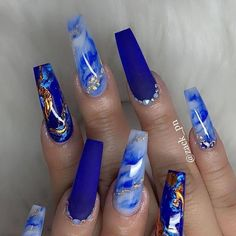 Acrylic nails designs marble blue 49 ideas for 2020 Turquoise Acrylic Nails, Turquoise Nail Designs, Teal Nails, Glow Nails, Cute Acrylic Nail Designs, Summer Acrylic Nails, Spring Nails, Winter Nails, Acylic Nails