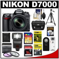 Nikon D7000 Digital SLR Camera  18-200mm VR II DX AF-S Zoom Lens with 32GB  16GB Cards + Case + DVD + Tripod + Flash + 3 Filters + Remote + Accessory Kit