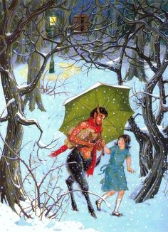 "Mr. Tumnus & Lucy, ""The Lion, the Witch & the Wardrobe."" Illustration by Pauline Baynes 1954."