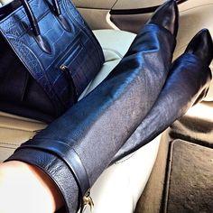 leauxnoir:  CÉLINE croc embossed phantom + GIVENCHY fold over shark lock boots