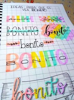 19 creative ideas for beautiful school notes that will make you want to study - Beautiful notes in notebooks to study at school; creative and colorful letter title - Bullet Journal Lettering Ideas, Bullet Journal Banner, Journal Fonts, Bullet Journal Notebook, Bullet Journal School, Bullet Journal Ideas Pages, Bullet Journal Inspiration, Hand Lettering Alphabet, Bullet Journal Aesthetic