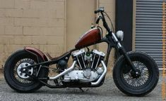 """Great stance on """"Looky Looky,"""" a 1974 Ironhead Bobber by Nash Bros."""