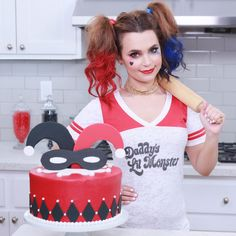 "rosannapansino: "" Made a Harley Quinn themed Checkered Cake on Nerdy Nummies today! ♠️♥️♣️♦️ """