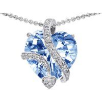 Original Star K (tm) Large 15mm Heart Shape Simulated Aquamarine Love Pendant in .925 Sterling Silver $269.99 #StarK