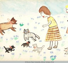 Girl, age 11, 1960. My Kittens are my Friends.  	Jacksonville, Illinois, United States. Water-based painting.