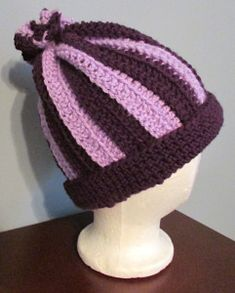 This is one of the easiest ways to make a hat without working in the round. You basically just make a rectangle that fits around the circumference of your head, seam the ends together to make a tub…