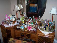 Vanity displaying perfumes