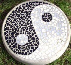 """14"""" mosaic Yin Yang stepping stone Mosaic Tile Art, Mosaic Diy, Mosaic Garden, Mosaic Crafts, Mosaic Projects, Garden Art, Ying Y Yang, Mosaic Furniture, Zen Garden Design"""