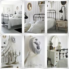 ***Pinned by oldattic ***. Shabby Bedroom, Bedroom Decor, Bedroom Ideas, Swedish Decor, Shabby Chic, White Decor, Beautiful Bedrooms, Decoration, French Country