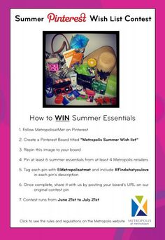 Contest time!     Just follow these few steps and you will be entered to WIN this H & M tote filled with amazing summer essentials from retailers like Sephora, Teaopia, Aldo, and H & M!    Remember this contest ends on July 21st, 2012 so get pinning!   If you are experiencing problems commenting us your URL, simply email it to us at cheryl.chan@ivanhoecambridge.com and you will be instantly entered into the contest.  Good luck!  #Contest #win