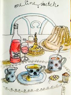 Michael Basler, Sketchbook, Ink  & Watercolor, one line Technik