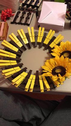 This 12 Inch wreath is the perfect decoration for your door in the summer time ! The charming sunflower theme will brighten your day (as well as your guests!) whenever you open the door! It will also make a wonderful gift for your friends & family Holiday Wreaths, Mesh Wreaths, Holiday Crafts, Sunflower Crafts, Sunflower Wreaths, Wreath Crafts, Diy Wreath, Clothespin Crafts, Fabric Wreath