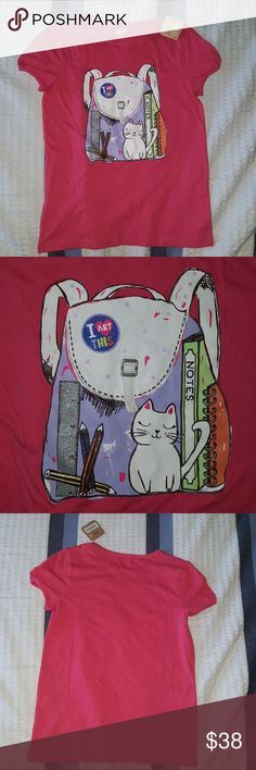 Crazy 8 Backpack & Cat Design Pink Shirt Sz XL(14) New and ready for you. Size is a XL (14). Great looking front design. More info on the pics. crazy8 Shirts & Tops Tees - Short Sleeve