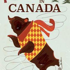 Ski in Canada vintage travel poster Art Print by Nick's Emporium   Society6